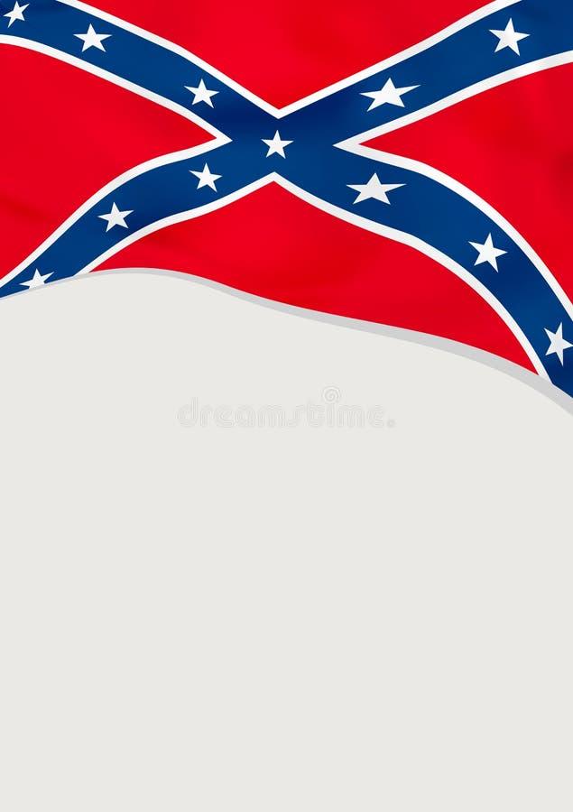 Ulotka projekt z flagą konfederat, USA rabatowy bobek opuszczać dębowego faborków szablonu wektor ilustracji