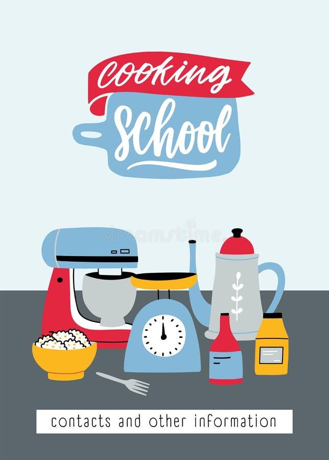 Ulotka szablon z kuchennymi naczyń, elektrycznych i manuału narzędziami dla karmowego przygotowania, Kolorowa wektorowa ilustracj ilustracja wektor