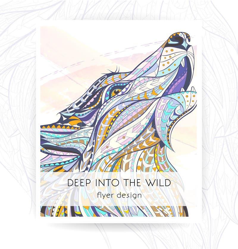 Ulotka szablon z wzorzystą głową wyć wilk ilustracji