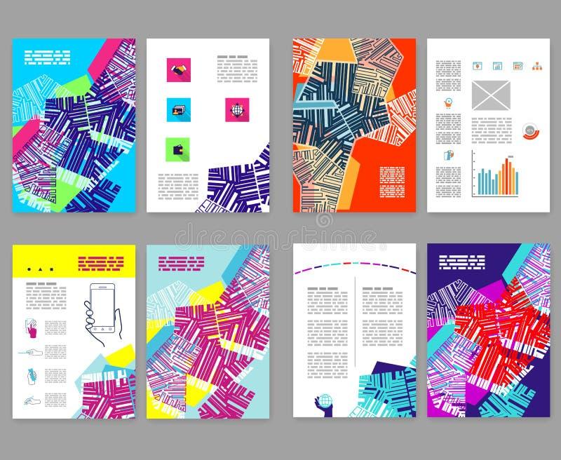 Ulotka, ulotka, broszura układu set Editable projekta szablon A4 ilustracja wektor