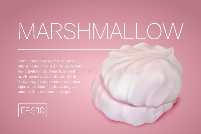 Ulotka z realistycznym wizerunkiem marshmallows royalty ilustracja