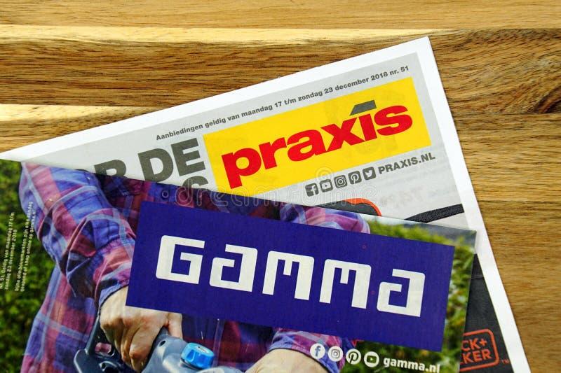 Ulotki łańcuchy, gamma i Praxis dwa holendera narzędzia sklepu, obraz royalty free
