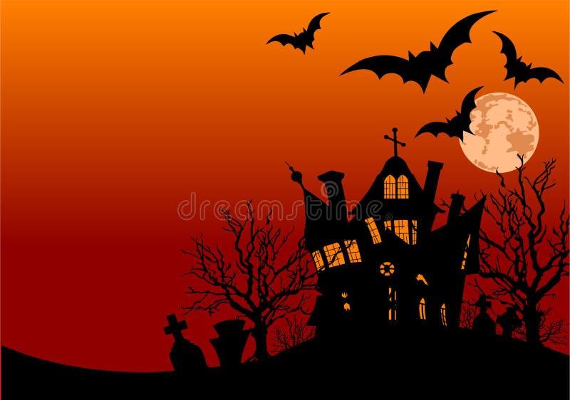 ulotki Halloween dom royalty ilustracja