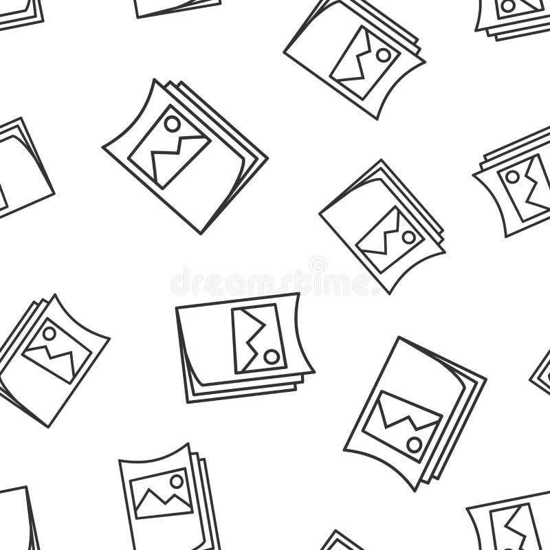 Ulotki ulotki ikony bezszwowy deseniowy tło Broszurki szkotowa wektorowa ilustracja Broszury ulotki symbolu wzór ilustracja wektor