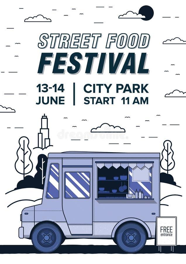 Ulotki lub plakata szablon z sprzedawanie posiłkami i Uliczna karmowa festiwal reklama, lato royalty ilustracja