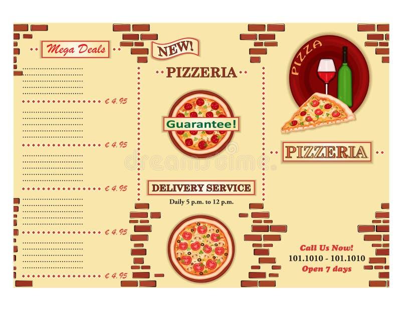 ulotki pizzeria restauracja royalty ilustracja