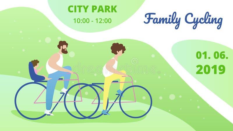Ulotki zaproszenie Mieć zabawy Parkowego Rodzinnego kolarstwo royalty ilustracja