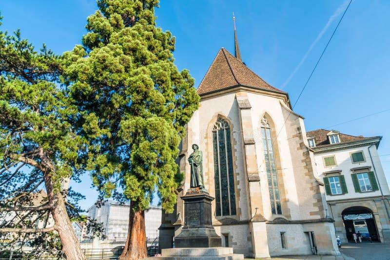 Ulrich Zwingli Monument en la iglesia del agua en Zurich, Suiza imagen de archivo