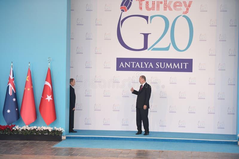 Ultima riunione pubblica di Putin e di Erdogan prima di scolarsi getto russo inciddent fotografie stock libere da diritti