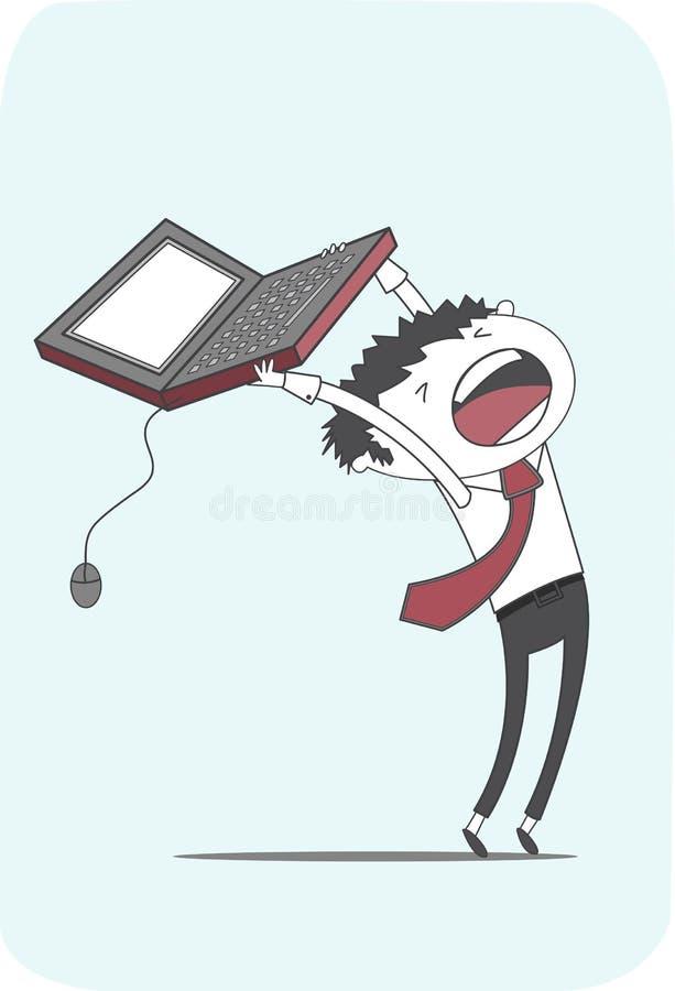 Ultimate computer frustration stress at work vector illustration