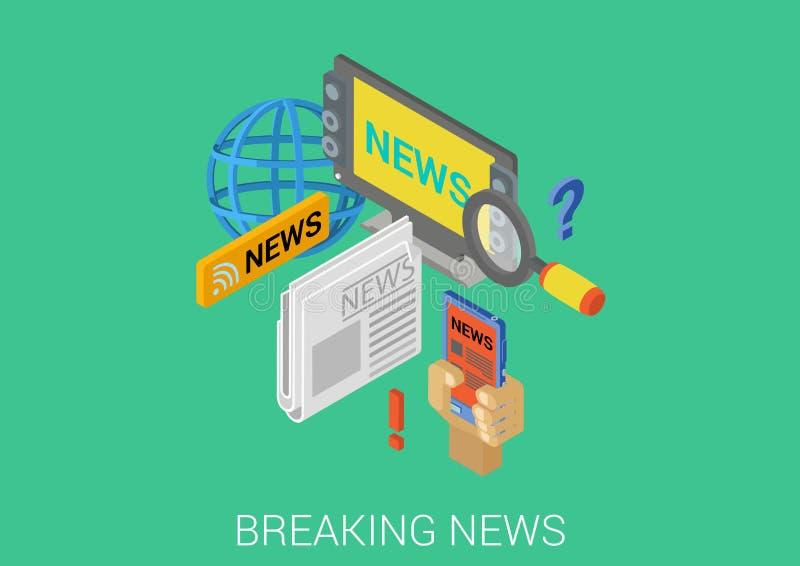 Ultime notizie calde infographic di web isometrico piano di concetto 3d illustrazione vettoriale