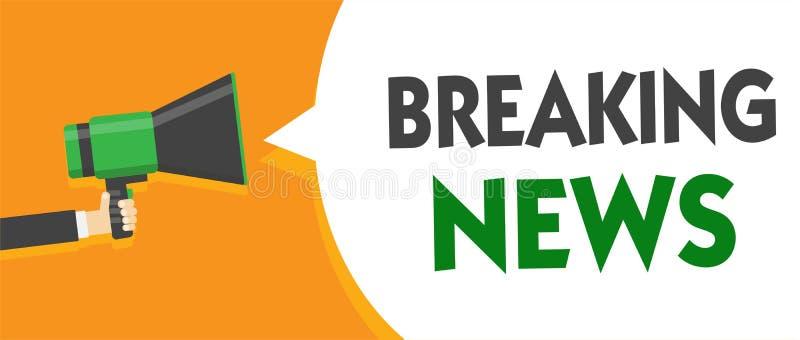 Ultime notizie del testo della scrittura Megaphon d'avvenimento della tenuta dell'uomo di Flashnews della questione attuale di an illustrazione vettoriale