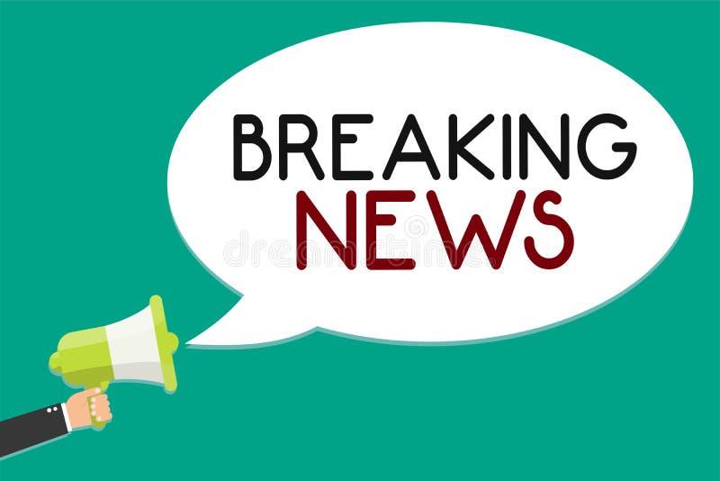 Ultime notizie di scrittura del testo della scrittura Tenuta d'avvenimento dell'uomo di Flashnews della questione attuale di annu illustrazione vettoriale