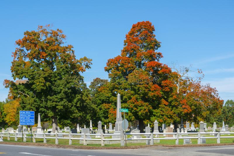 Ultimo cimitero di resto in Merrimack, NH, U.S.A. fotografie stock libere da diritti