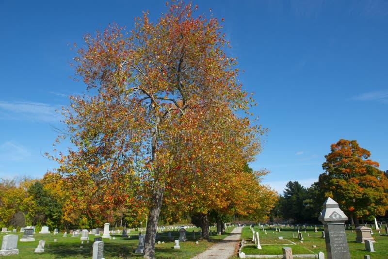 Ultimo cimitero di resto in Merrimack, NH, U.S.A. fotografia stock libera da diritti