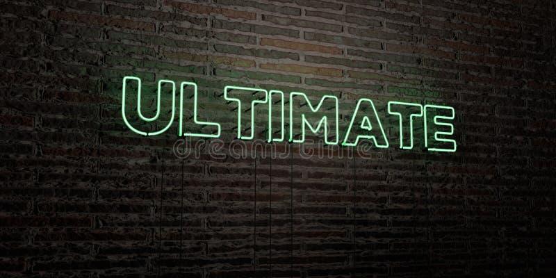 ULTIMO - insegna al neon realistica sul fondo del muro di mattoni - 3D ha reso l'immagine di riserva libera della sovranità illustrazione di stock