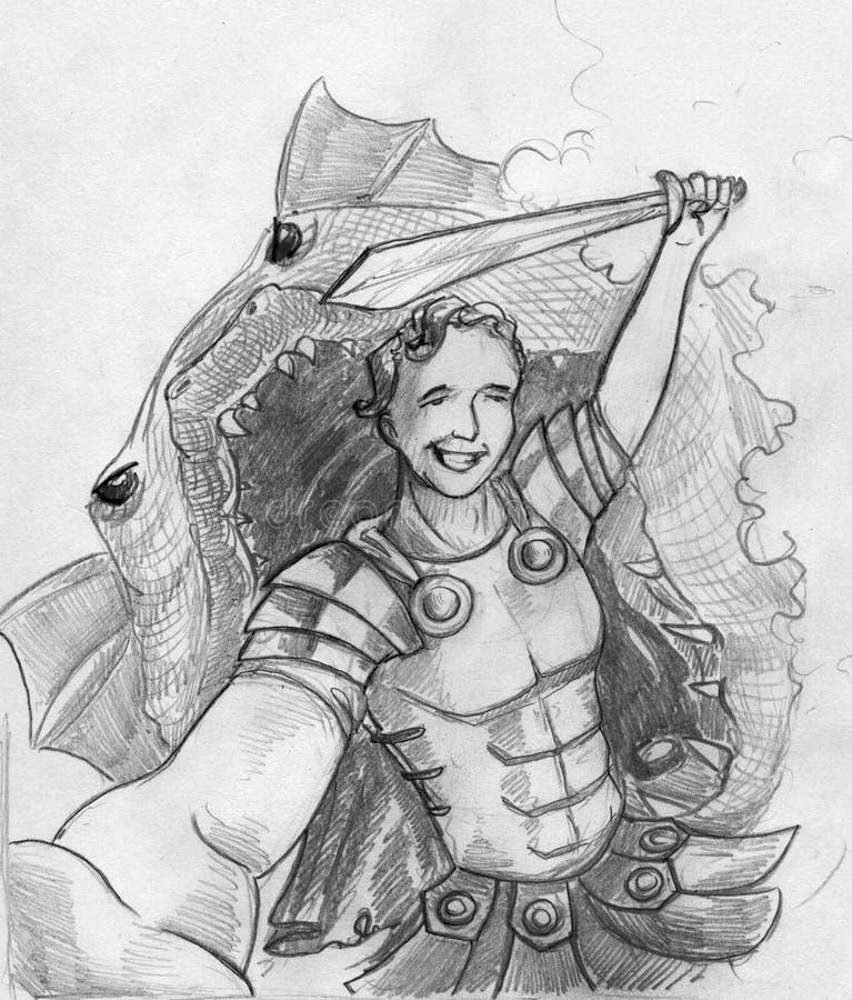 Ultimo selfie di un eroe royalty illustrazione gratis