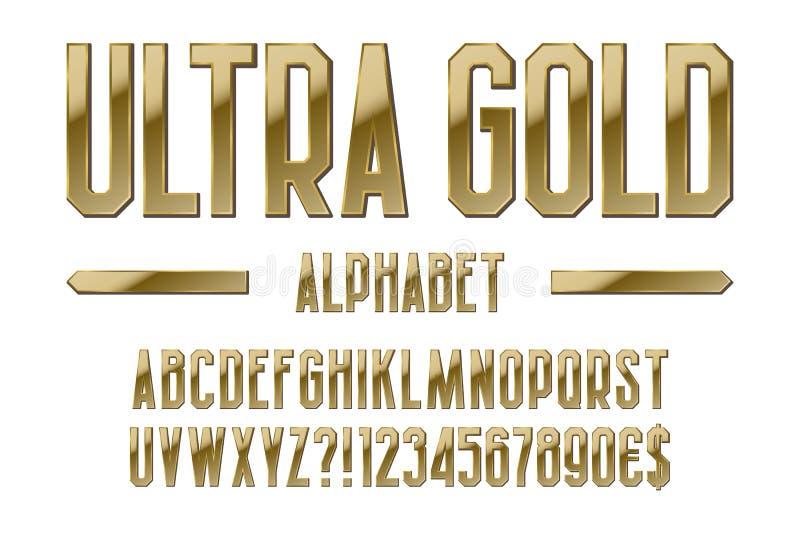 Ultra alfabeto del oro Letras, números, muestras de moneda del dólar y del euro, exclamación y signos de interrogación de oro ilustración del vector