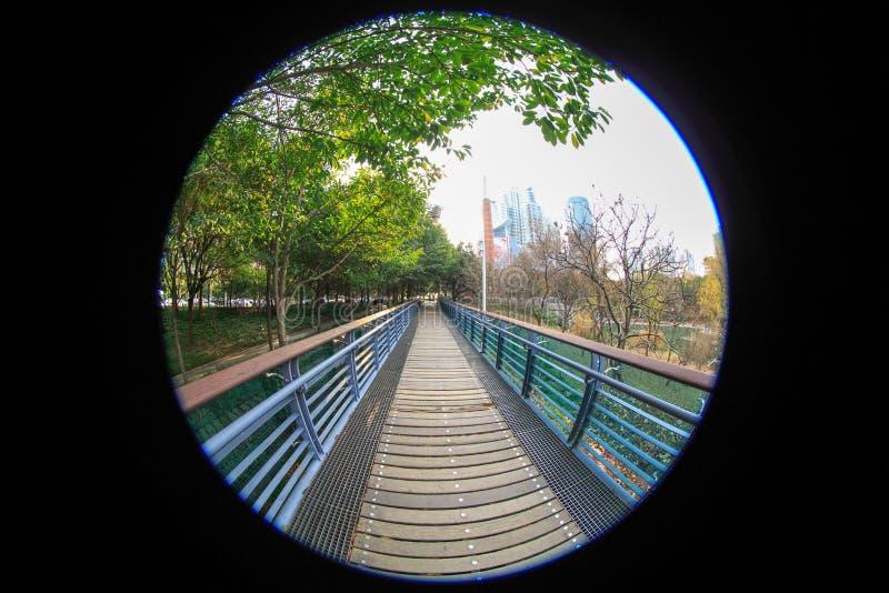 Ultra brede hoekfotografie, viaduct, houten plankbrug royalty-vrije stock afbeelding
