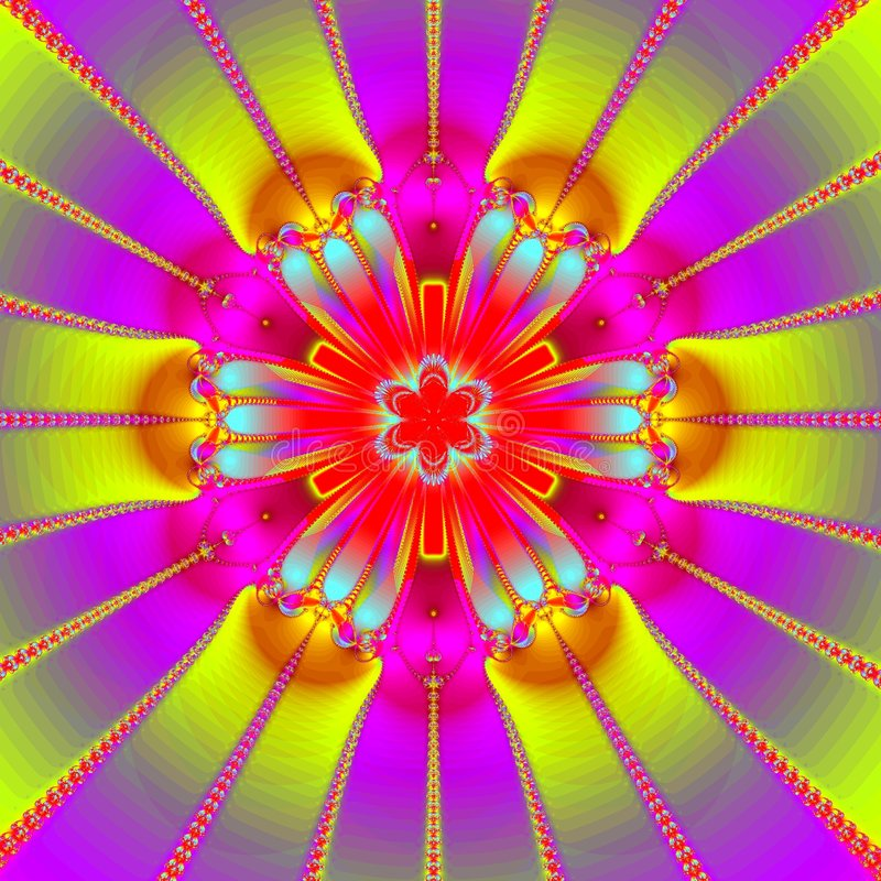 Ultra bright mandala stock illustration