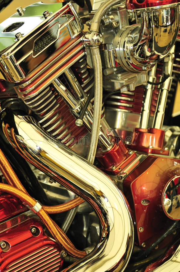 Ultra clean bike. Detail of the reflections at the chromed motor stock image