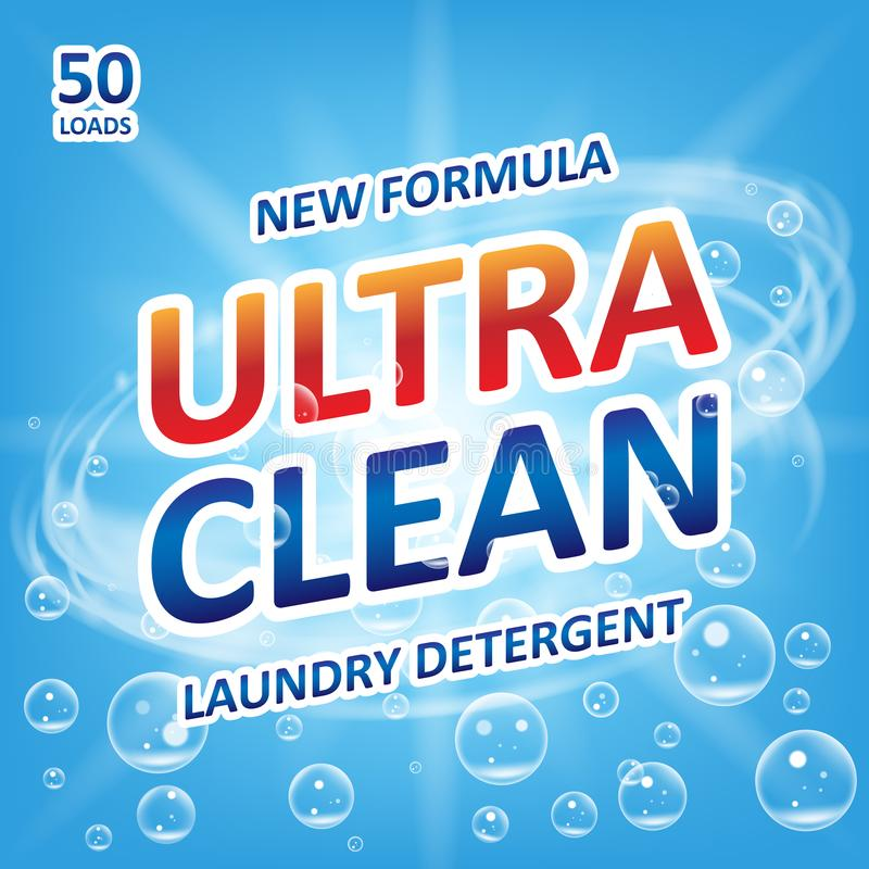 Ultra clean Soap design product. Template for laundry detergent with bubbles on blue. Package design for Liquid royalty free illustration