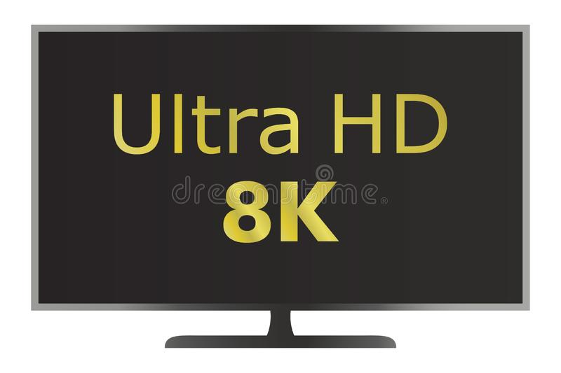 Ultra coloreado icono de la televisión de HD 8K Icono del vector de la TV libre illustration