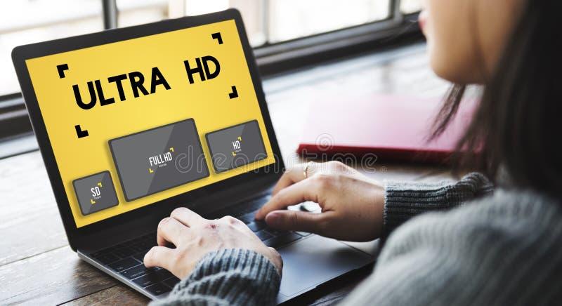 Ultra conceito da tela da definição de monitor da definição de HD fotografia de stock