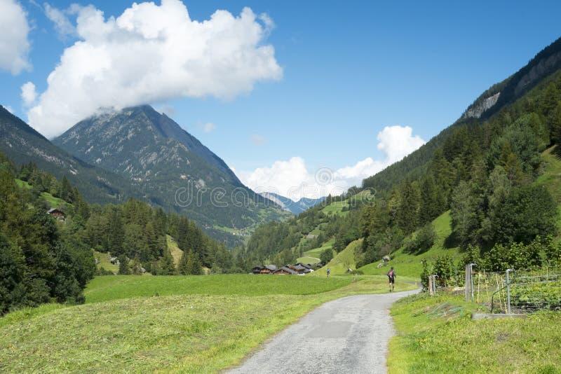 Ultra corredores do du Mont Blanc da fuga fotografia de stock royalty free