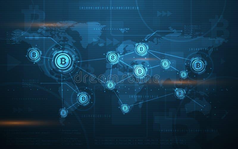 Ultra för Blockchain för HD-abstrakt begreppBitcoin Crypto valuta illustration för bakgrund för världskarta teknologi royaltyfri illustrationer