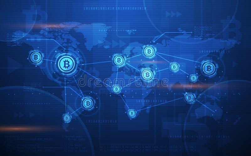 Ultra för Blockchain för HD-abstrakt begreppBitcoin Crypto valuta illustration för bakgrund för världskarta teknologi stock illustrationer
