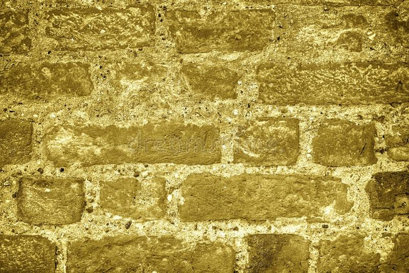 Ultra gele bakstenen muurtextuur, cementachtergrond voor website of mobiele apparaten royalty-vrije stock afbeelding