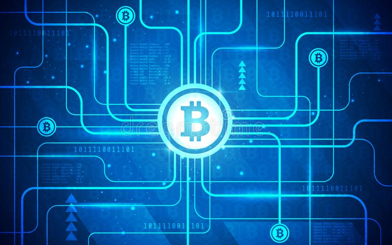 Ultra HD Abstract Circuit Board Bitcoin Technology Background Illustration royalty free illustration