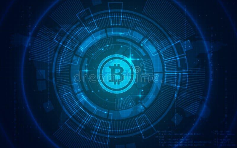Ultra HD Bitcoin technologii tła ilustraci tapeta ilustracji