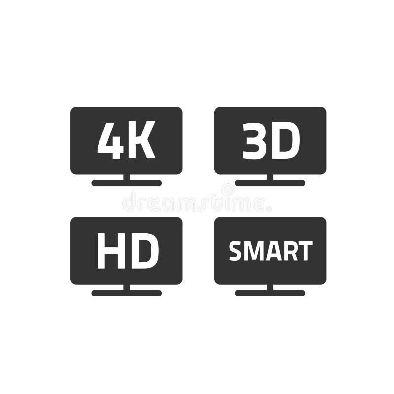 ultra hd 4k Fernsehen und volle hd Fernseh-Ikonen stellten Linie Entwurf, Schwarzweiss--hd Videoemblemaufkleber für lcd ein oder  lizenzfreie abbildung