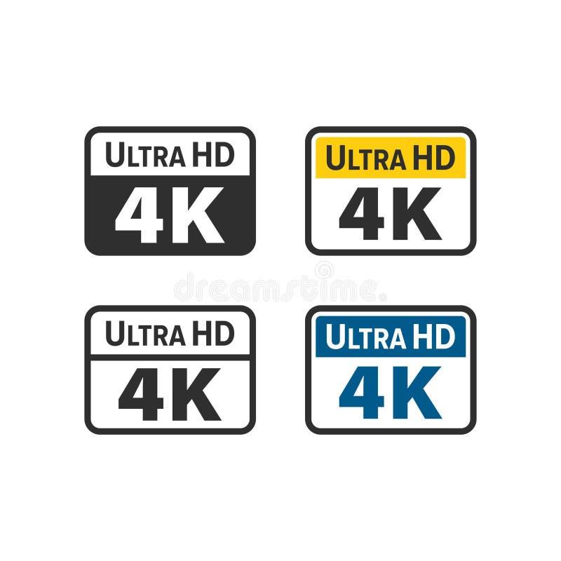 Ultra HD 4K icon stock illustration
