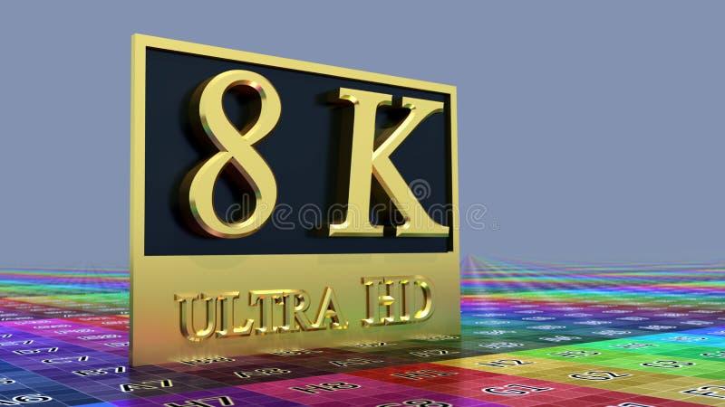 Ultra HD 8K icon royalty free illustration