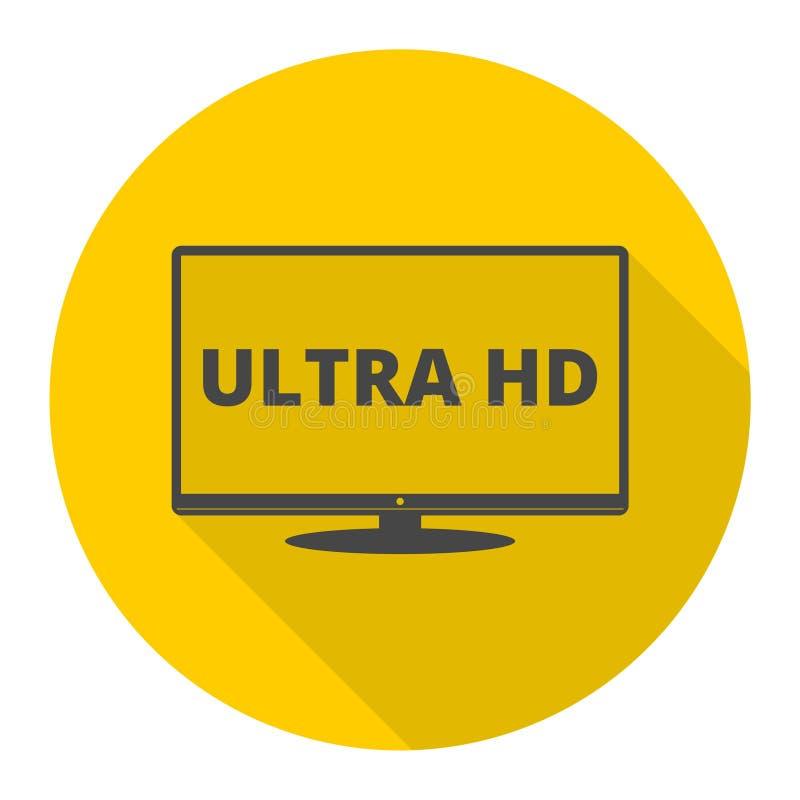 Ultra HD, monitor, ícone da tevê com sombra longa ilustração royalty free