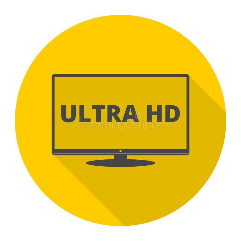 Ultra HD, Monitor, TV icon with long shadow royalty free illustration