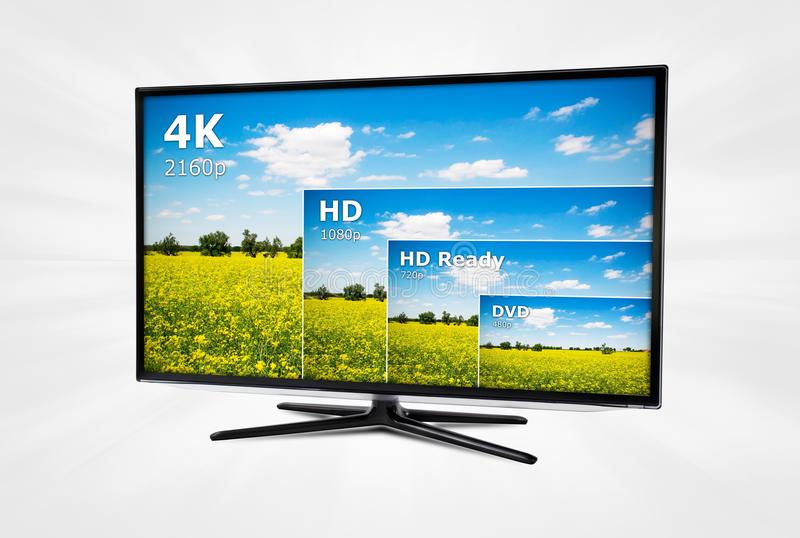 Ultra high definition TV with comparison of resolutions. 4K television display with comparison of resolutions royalty free stock photo
