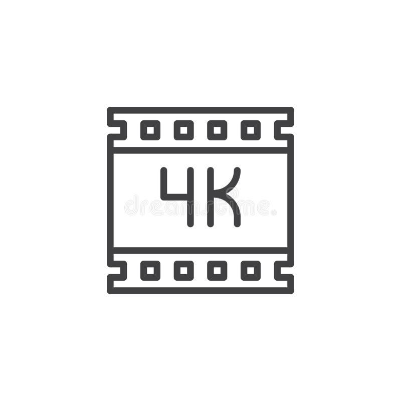 ultra icono video del esquema del hd 4K stock de ilustración