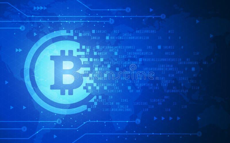 Ultra ilustração cripto do fundo do mapa do mundo da tecnologia de Blockchain da moeda de Bitcoin do sumário de HD ilustração do vetor