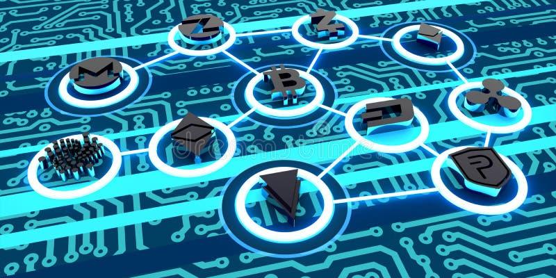 Ultra ilustração do fundo de CryptoWorld da conexão de Cryptocurrencies do sumário de HD ilustração do vetor