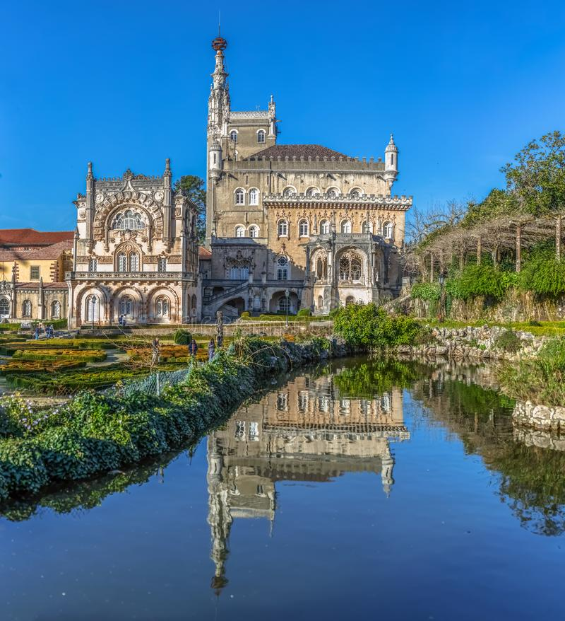 Ultra Large view of the back facade of the Bussaco Palace. Luso / Aveiro / Portugal - 03 09 2019 : Ultra Large view of the back facade of the Bussaco Palace, neo stock photography