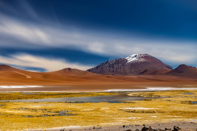 Colorful salar in Atacama, ultra long exposure. Ultra long exposure of colorful salar in Atacama stock image