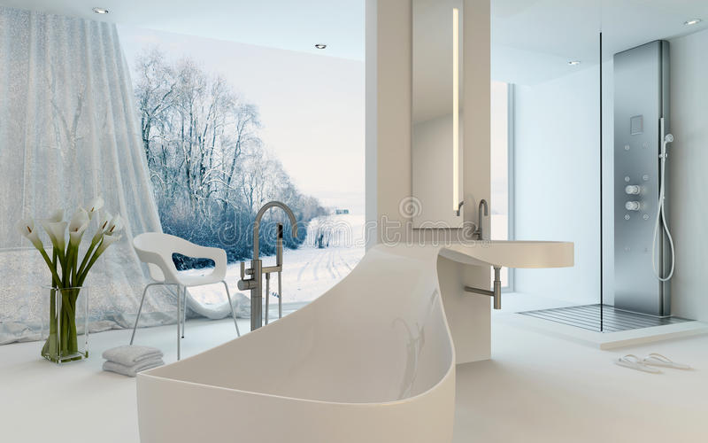 Download Ultra Modern Design Bathroom Interior With Bathtub Stock Illustration
