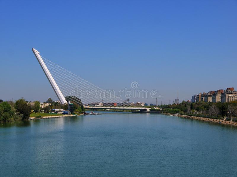 The ultra modern Puente Alamillo in Seville, Spain. stock image