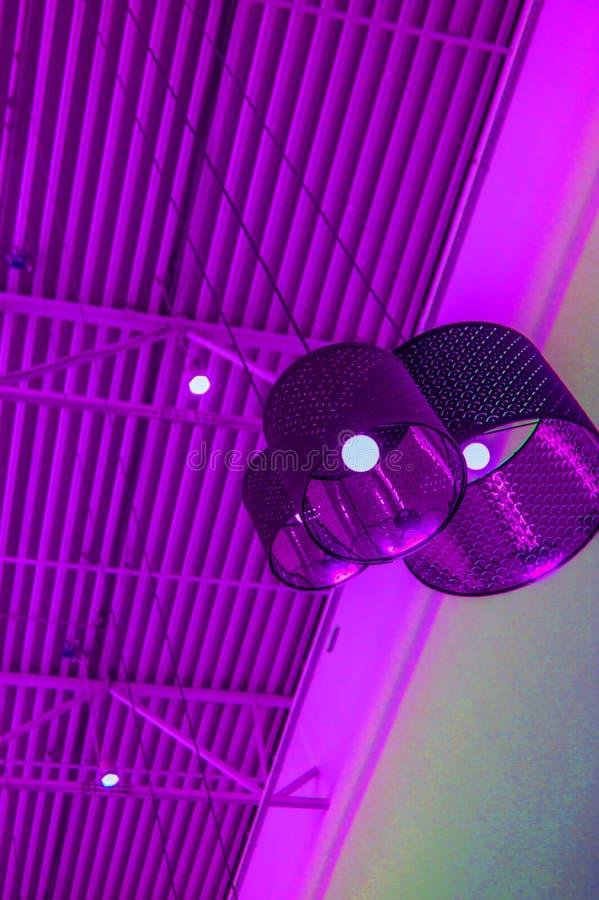 Ultra-modern zolderstijl in purpere gestemde kleuren decoratieve lampen en de lampekappen hangen op lange kabel, industrieel binn stock foto