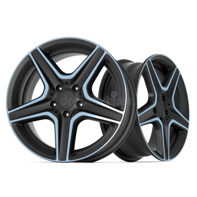 Ultra Realistic 3D Render of Steel Alloy Car Rims Isolated on White Background.  stock illustration