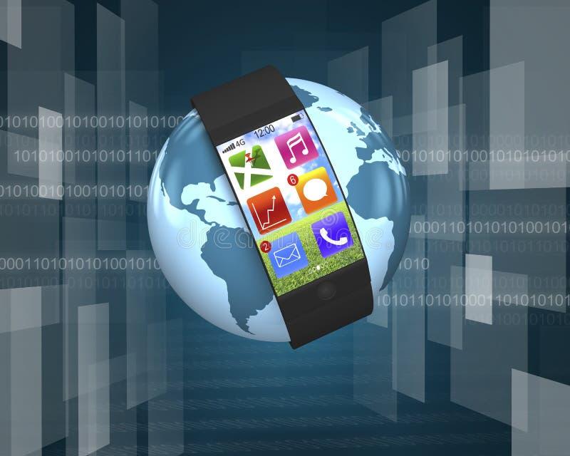 Ultra slank het gebogen-scherm slim horloge met apps op bol vector illustratie